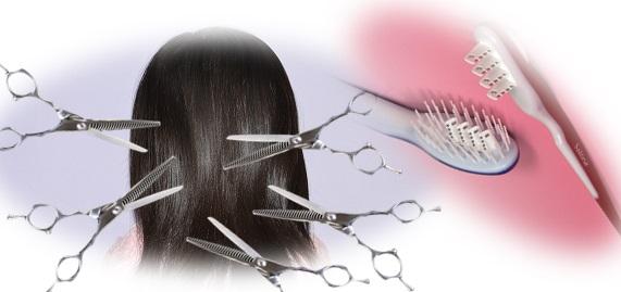 すきバサミで髪をすくのは大変。サローネで簡単に楽々髪をすく。