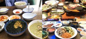 あわび粥と雲丹わかめスープ、韓国焼肉、チョッパル